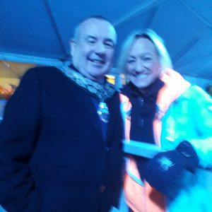 The Town Mayor Mike Prew is pictured with HTV weather girl Ruth Wignel at the Winter Wonderland Caerphilly Castle